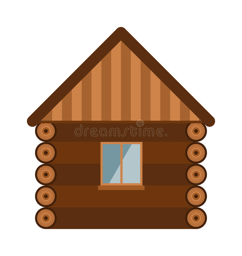 Vieux mur de maison d'architecture de domaine en bois de conception avec l'illustration plate de vecteur de vitrail illustration stock