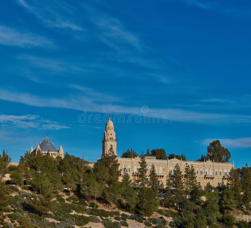 Vieux mur de ville de Jérusalem, panorama photographie stock libre de droits