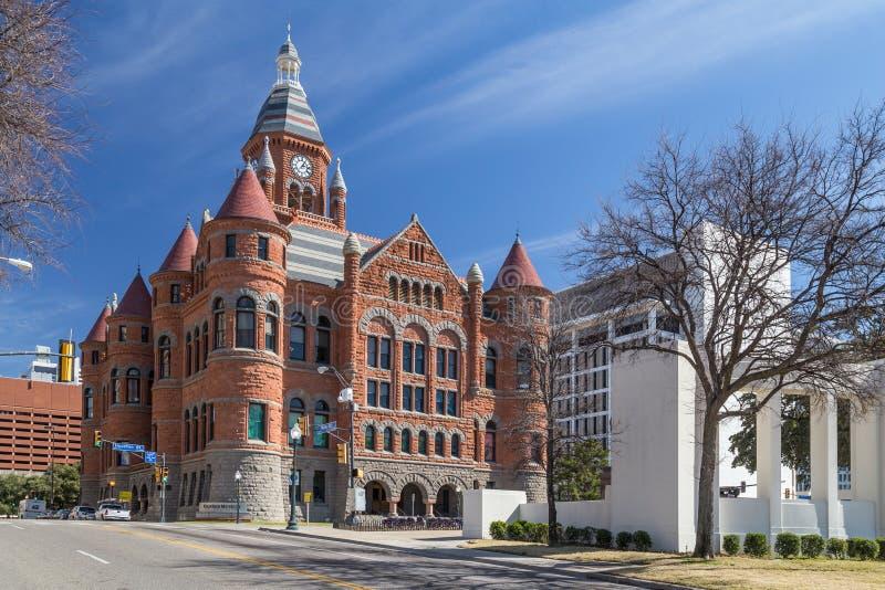 Vieux musée rouge, autrefois Dallas County Courthouse à Dallas, le Texas images stock