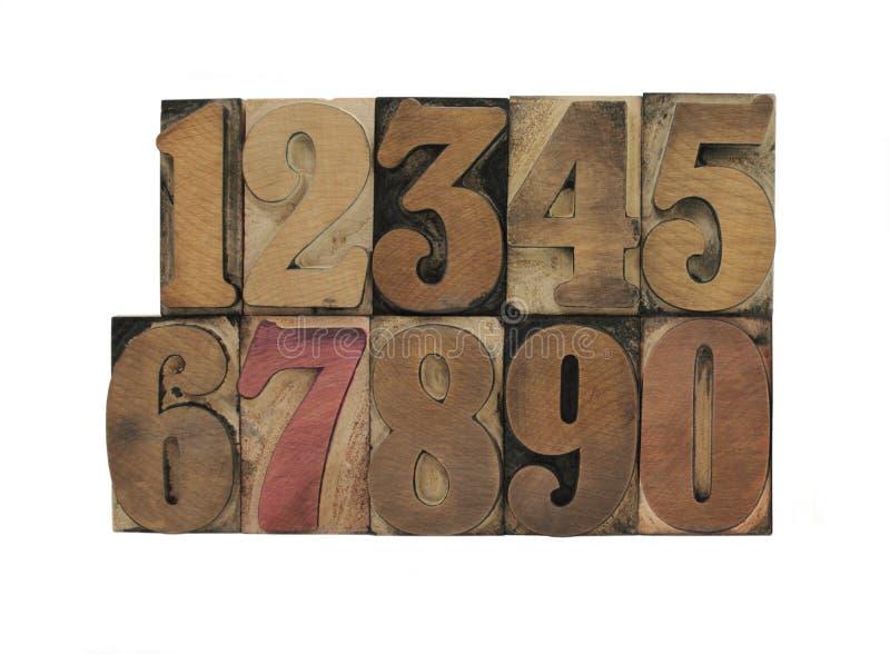 Vieux nombres en bois d'impression typographique images libres de droits