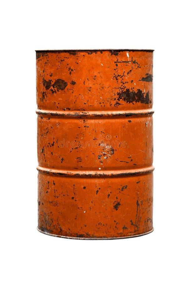 Vieux orange de rouille d'huile de baril d'isolement sur le fond blanc photos stock