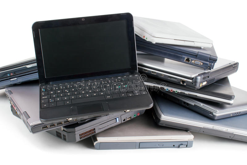 Vieux ordinateurs portatifs photo stock