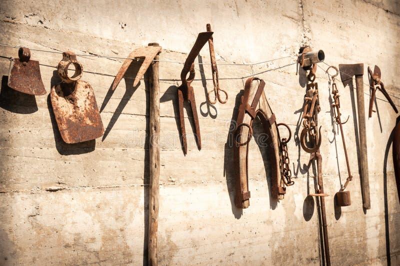 Vieux outils agricoles décoratifs rustiques photographie stock