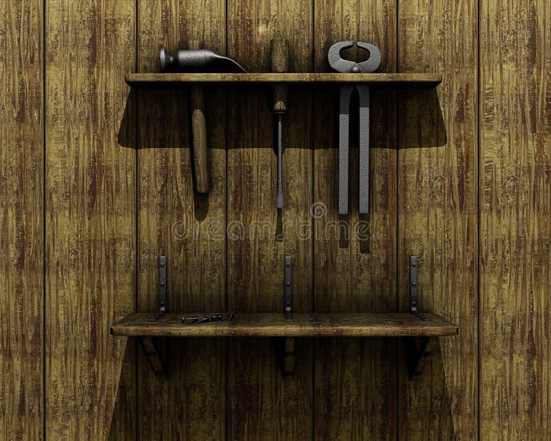 Vieux outils sur le mur en bois illustration de vecteur