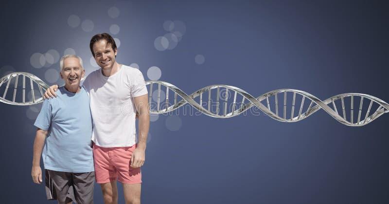 Vieux père et fils avec les étincelles et l'ADN génétique photos libres de droits