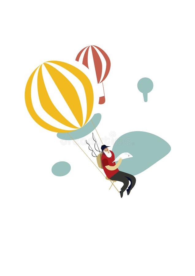 Vieux pêcheur avec des poissons sur un ballon à air chaud illustration stock