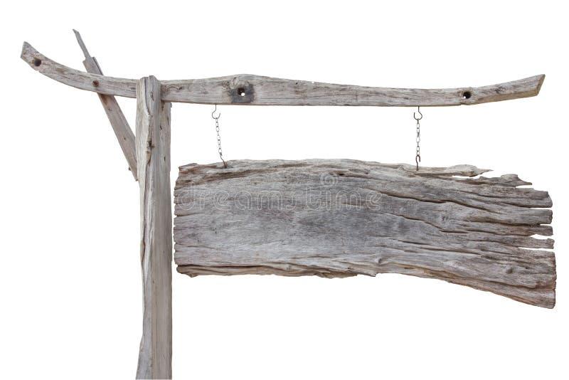 Vieux panneau en bois de signe accrochant avec la chaîne d'isolement sur le backgro blanc photographie stock libre de droits