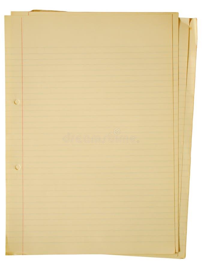 Vieux papier A4 de jaunissement. photographie stock libre de droits