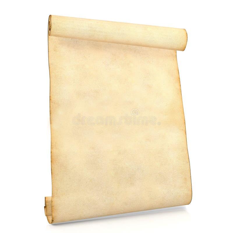 Vieux papier antique vide de rouleau d'isolement sur le fond blanc illustration de vecteur