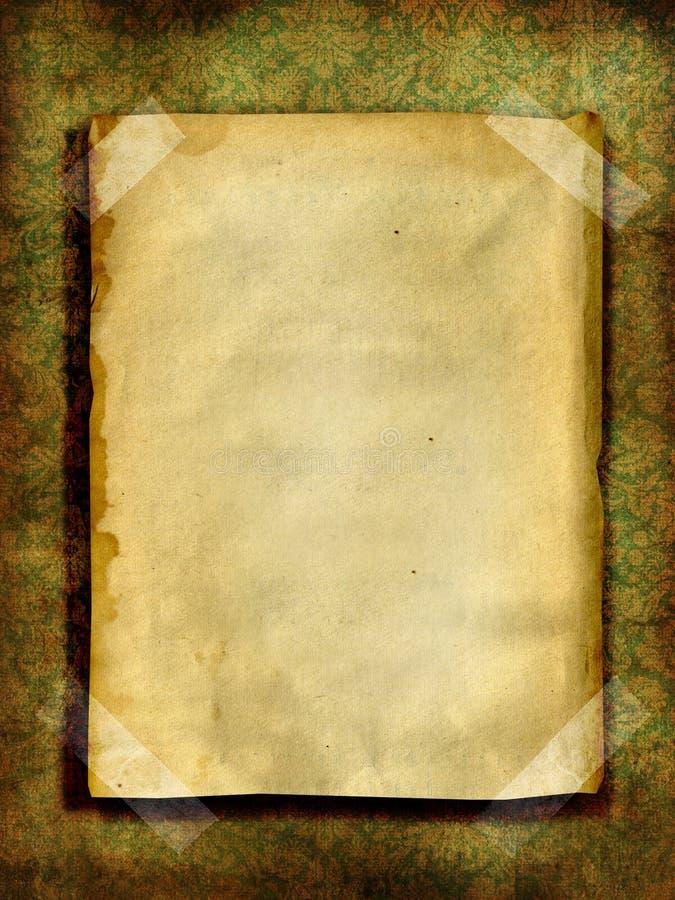 Vieux papier au-dessus de papier peint grunge illustration de vecteur