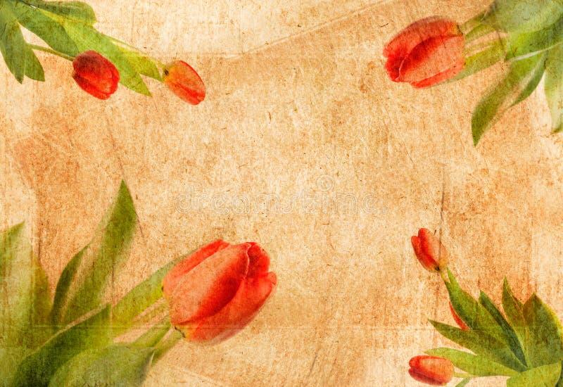 Vieux papier avec la configuration de fleur minable illustration de vecteur
