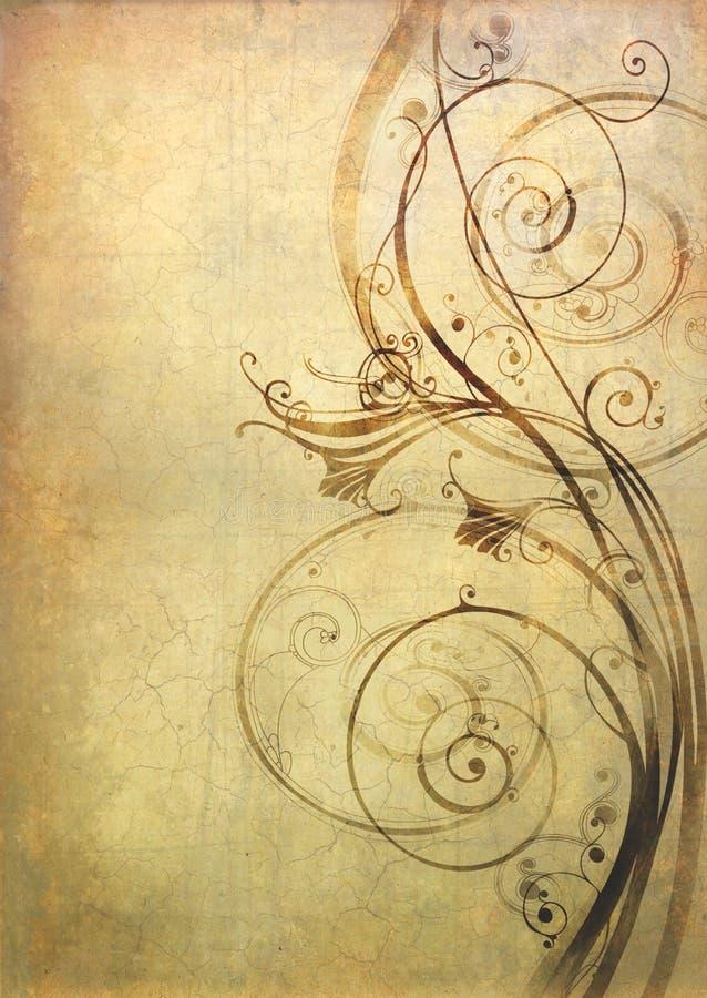 Vieux papier avec la configuration florale image stock