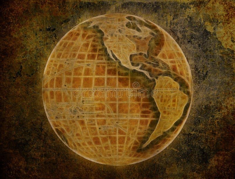 Vieux papier avec la grunge de globe illustration de vecteur