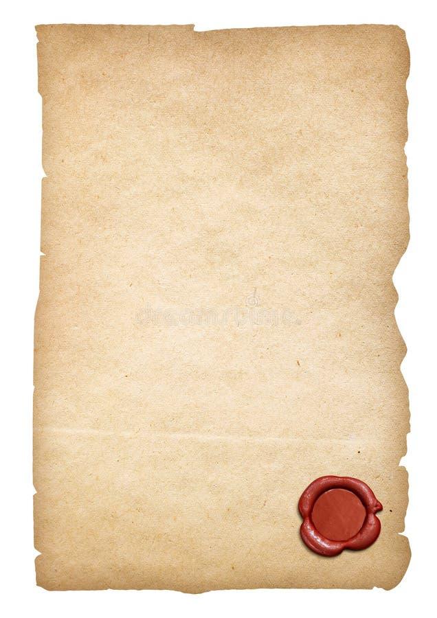 Vieux papier avec le joint de cire d'isolement Le chemin de coupure est inclus photos stock