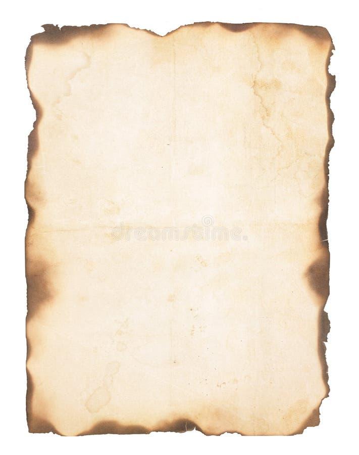 Vieux papier avec les bords brûlés image libre de droits