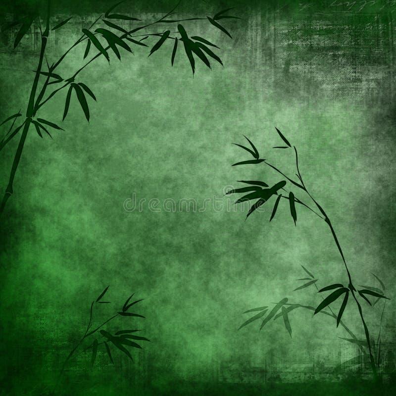 Vieux papier avec les branchements en bambou illustration stock
