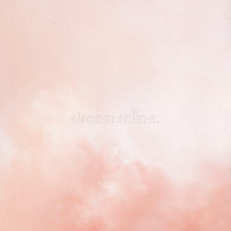Vieux papier avec les nuages rêveurs roses photos stock