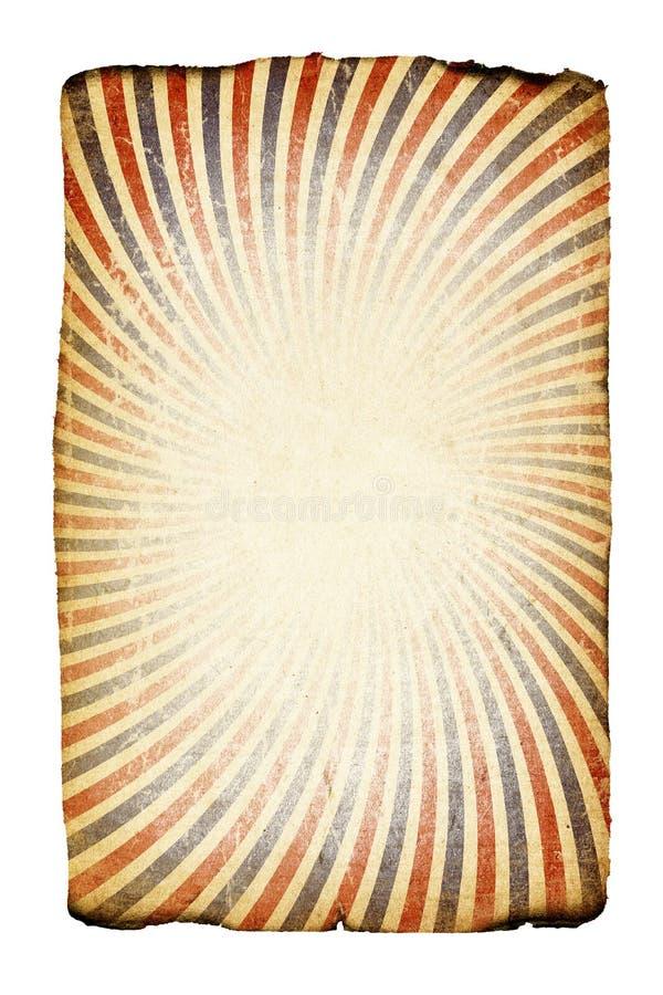 Vieux papier brûlé avec des rayons. illustration stock