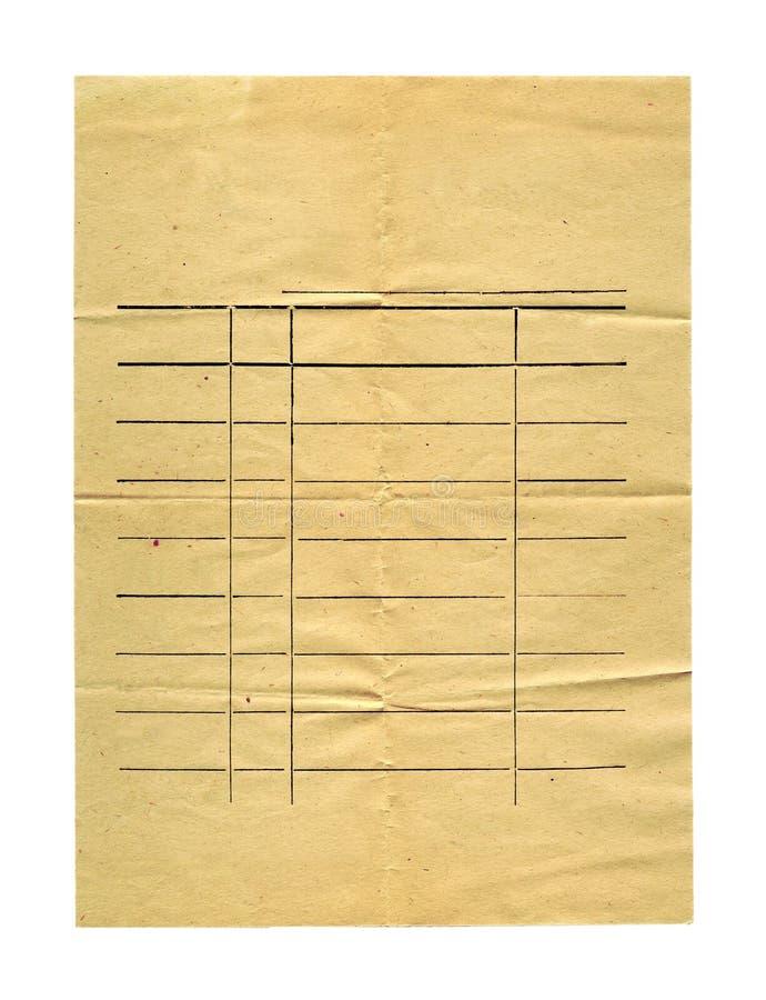 Vieux papier chiffonné antique d'isolement photo stock