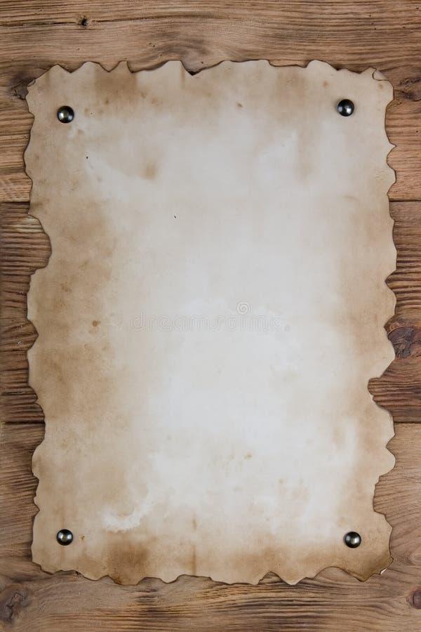 Vieux papier cloué photo stock