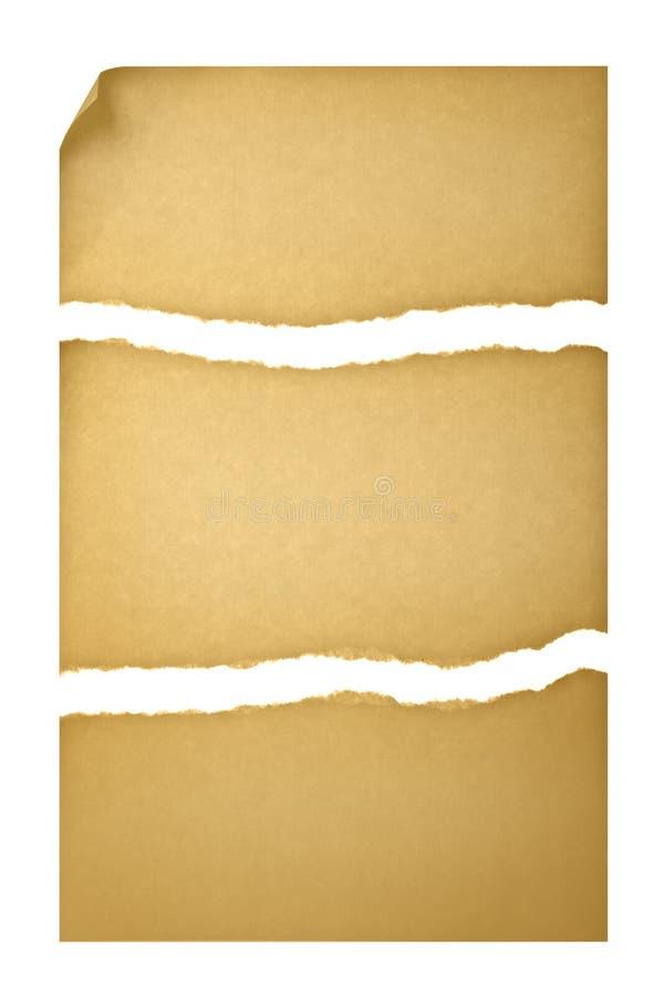 Vieux papier déchiré dans trois parties images stock