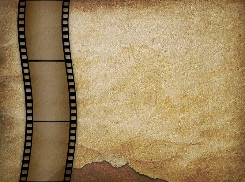 Vieux papier dans le type grunge avec le filmstrip illustration stock