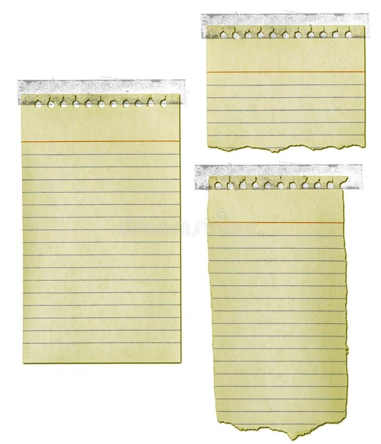 Vieux papier de bloc-notes avec la bande illustration de vecteur