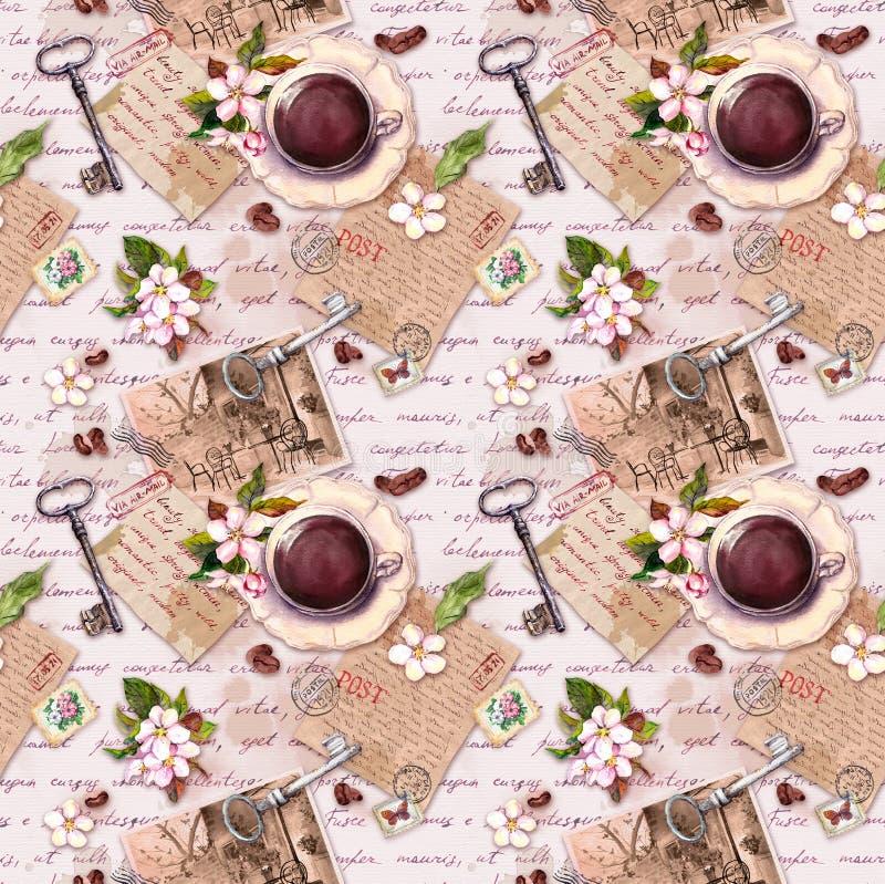 Vieux papier de cru, tasse de caf?, fleurs de pomme, lettres ?crites par main, photos, timbres, cl?s pour le livre de chute R?tro illustration de vecteur