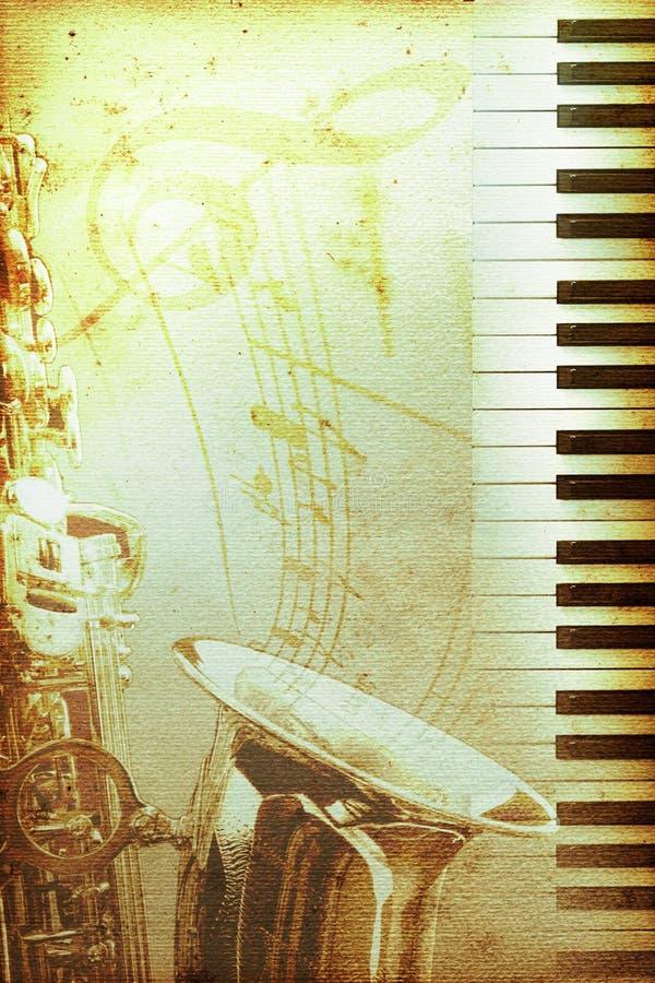 Vieux papier de jazz avec le clef illustration de vecteur