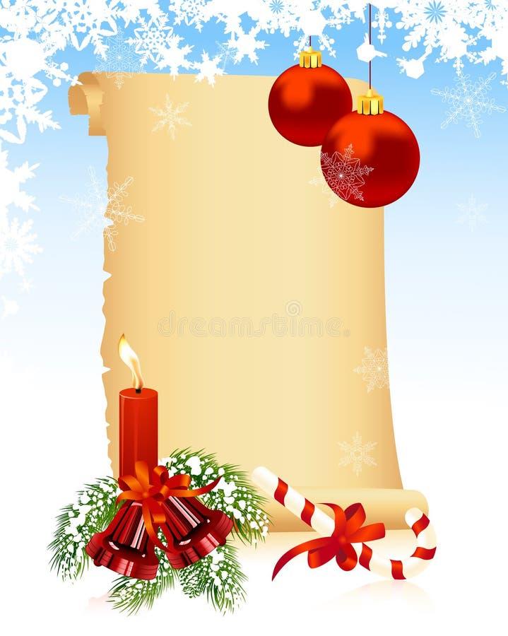 Vieux papier de l'hiver de Noël illustration libre de droits