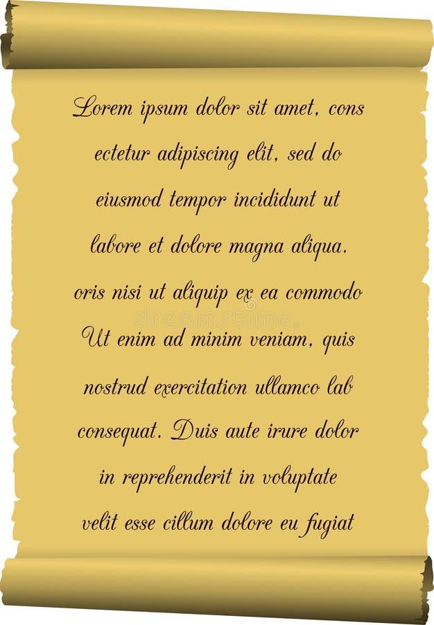 Download Vieux Papier De Soie De Soie, Un Rouleau Avec L'inscription Illustration de Vecteur - Illustration du modifié, page: 77157076