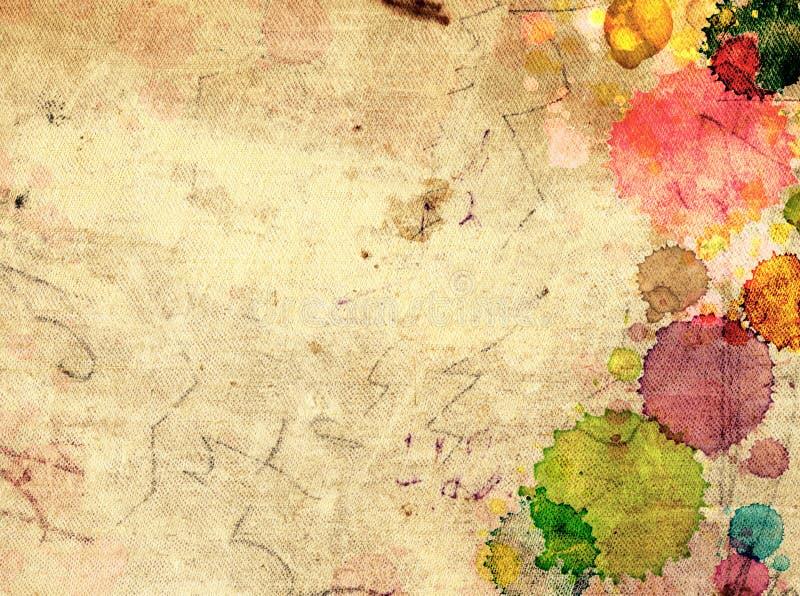Vieux papier de texture avec des taches de peinture image libre de droits
