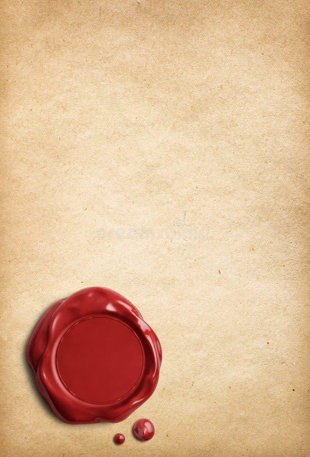 Vieux papier parcheminé avec le joint rouge de cire image stock