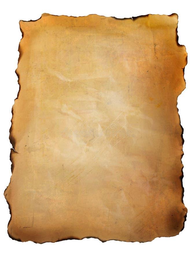 Vieux papier parcheminé contre le blanc illustration stock