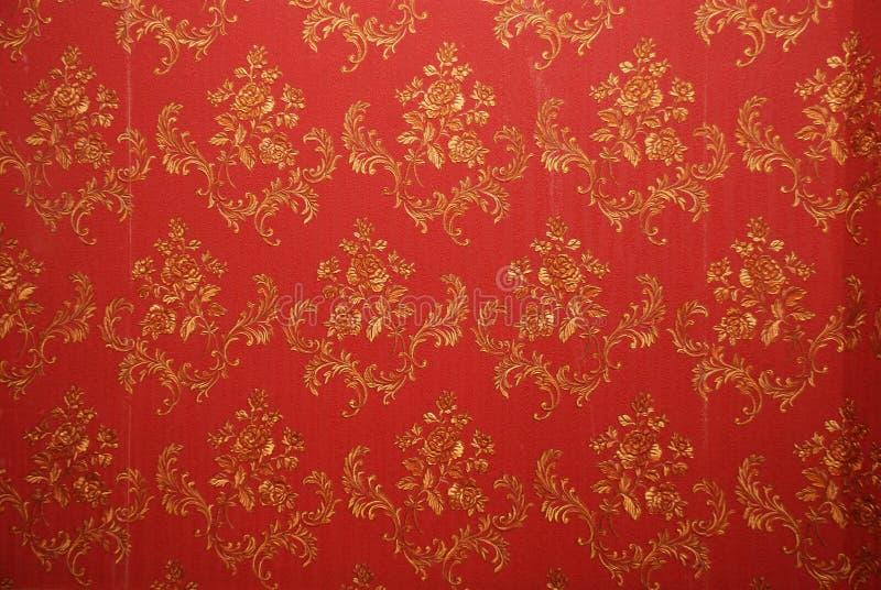 Vieux papier peint rouge image libre de droits