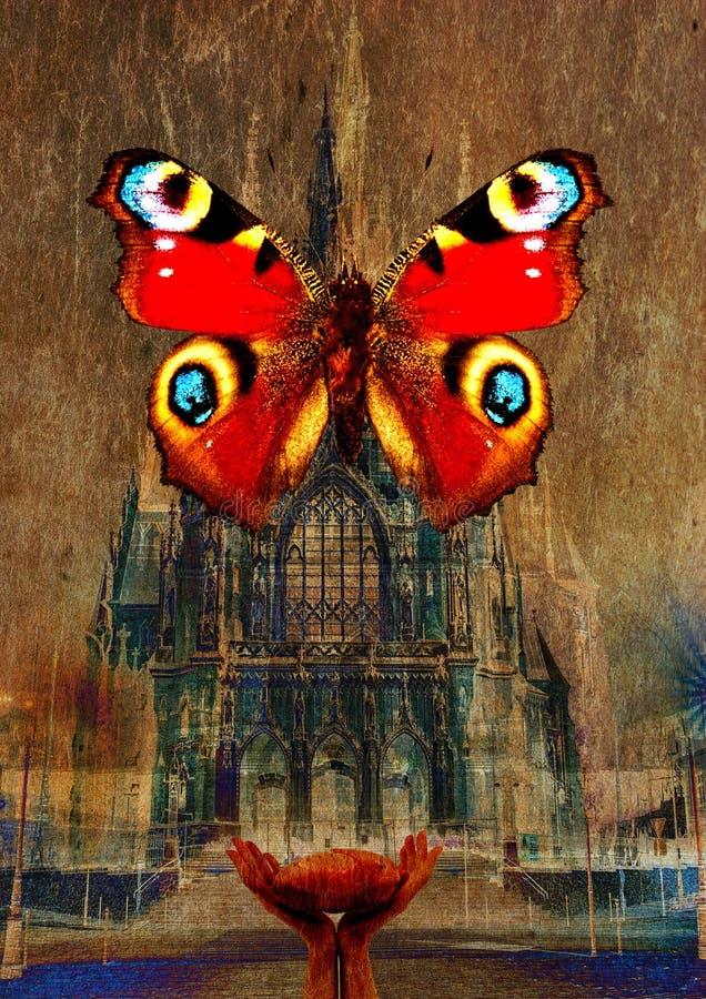 Vieux papier Texture avec papillon et église gothique photos libres de droits