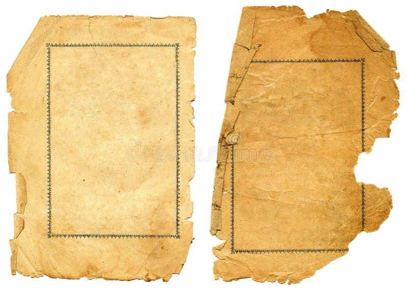 Vieux papier texturisé avec le bord décrépit. image stock