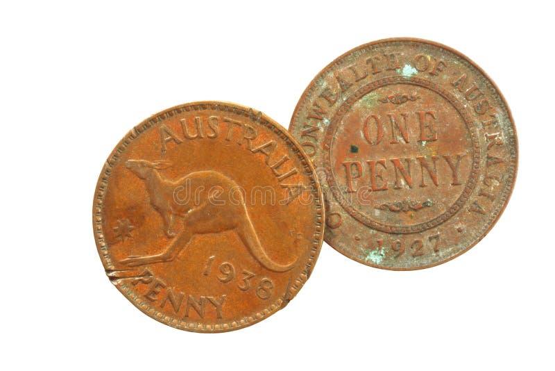 Vieux penny australiens photographie stock libre de droits