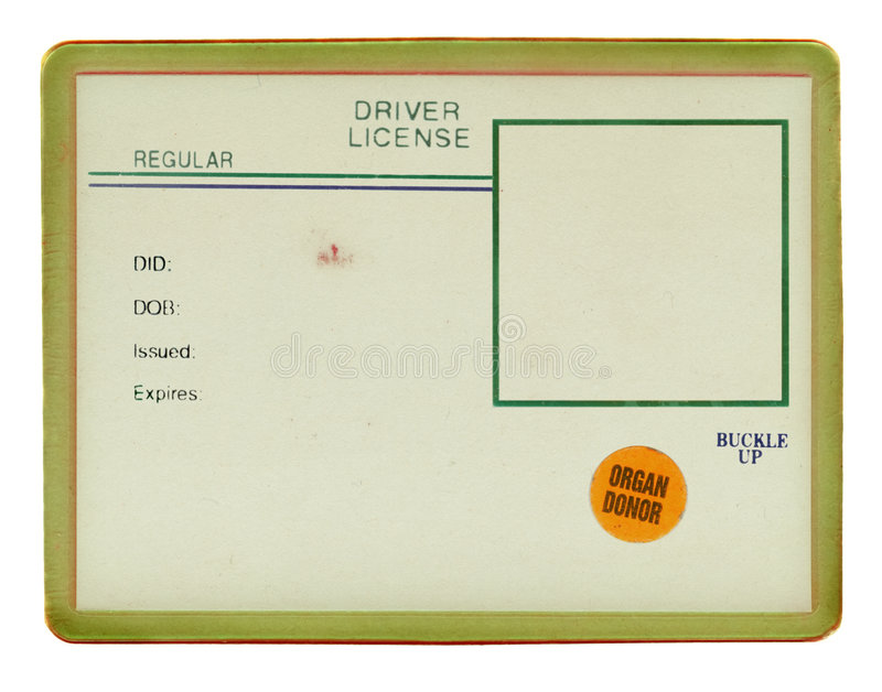 Vieux permis de conduire de cru image libre de droits