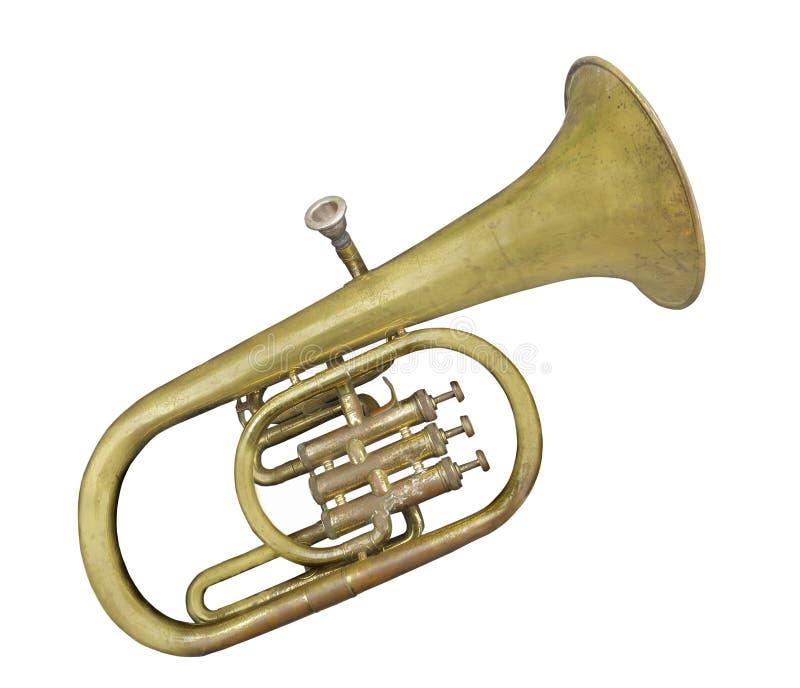 Vieux petit instrument de tuba d'isolement images libres de droits
