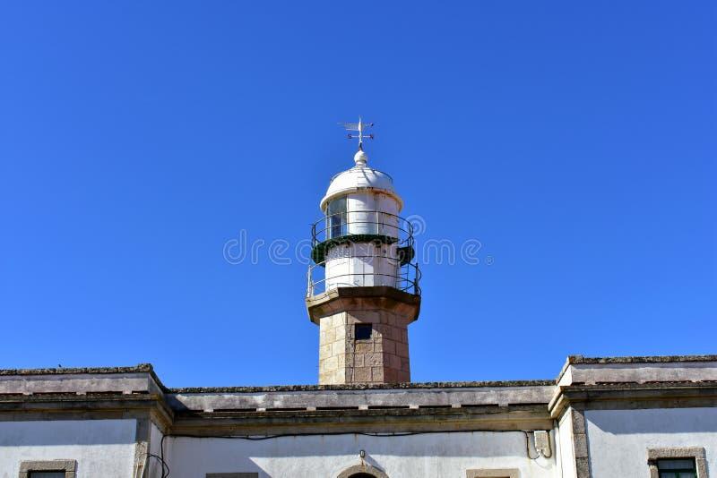Vieux phare abandonné avec la palette de vent Jour ensoleillé, ciel bleu La Galicie, Espagne photo stock