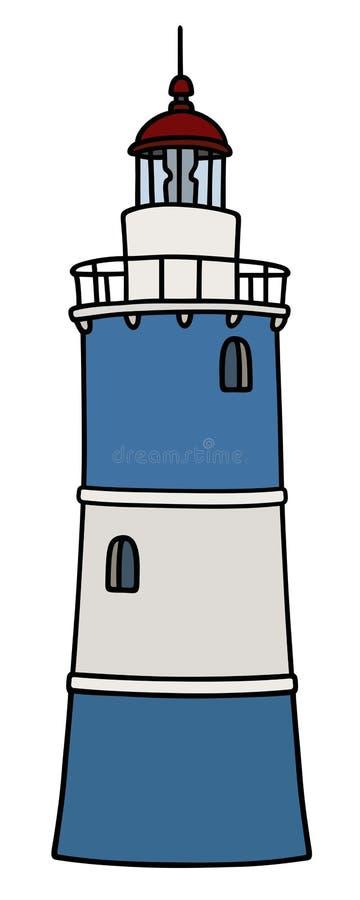 Vieux phare de pierre bleue illustration libre de droits