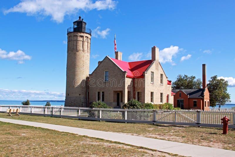 Vieux phare de point de Mackinac photographie stock libre de droits