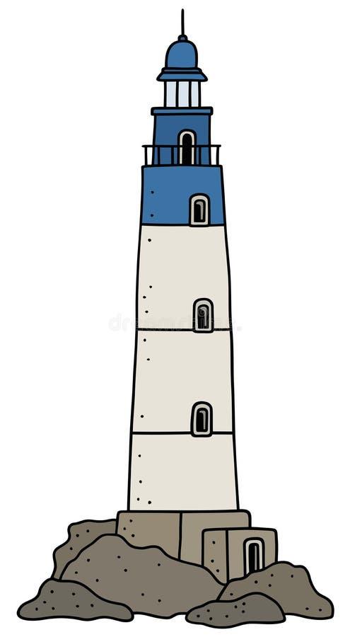 Vieux phare en pierre illustration stock