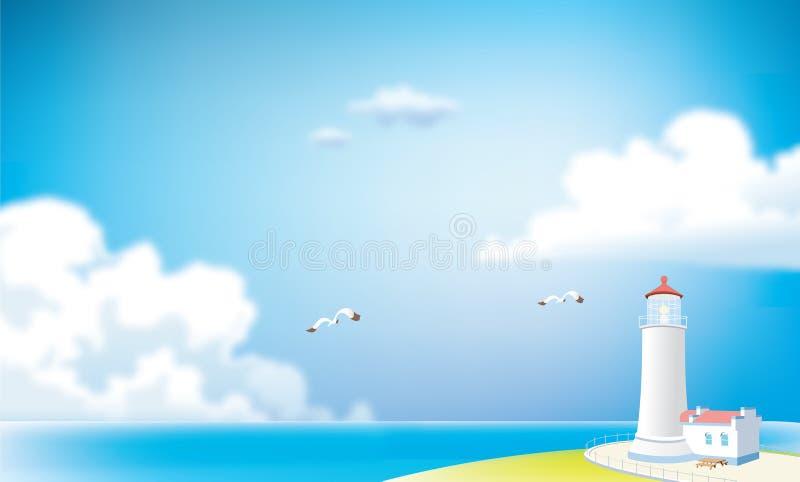 Vieux phare sur la côte illustration stock