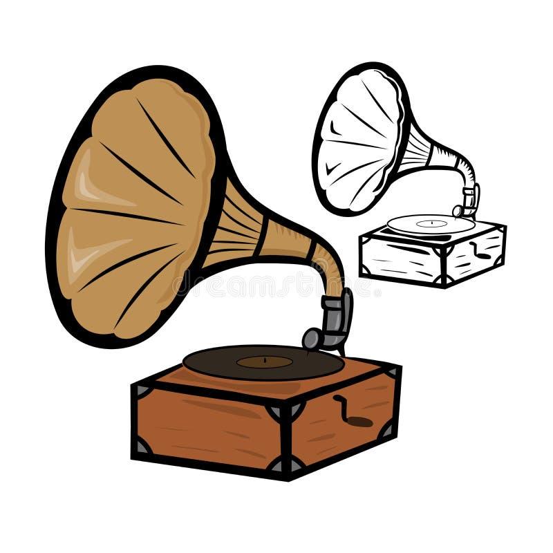 Vieux phonographe illustration de vecteur