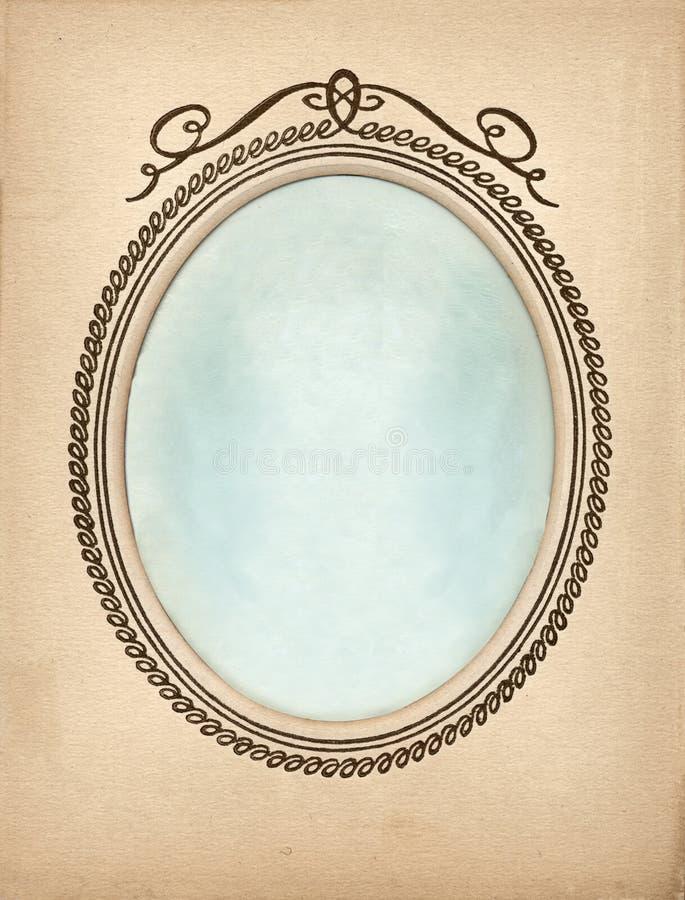 Vieux photoframe de cru avec la vignette ovale illustration stock