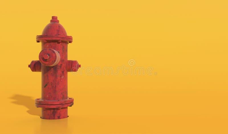 Vieux plan rapproché de bouche d'incendie rouge d'isolement sur un fond jaune Illustration avec l'espace de copie 3d rendent illustration de vecteur