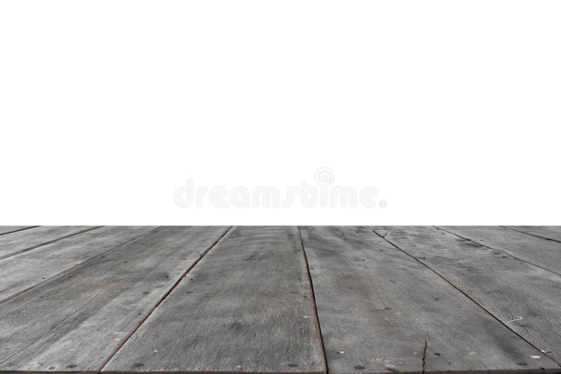Vieux plancher en bois séparé du fond blanc photo stock