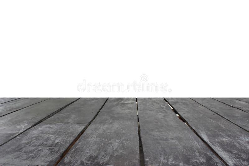 Vieux plancher en bois séparé du fond blanc image stock
